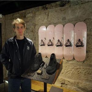Josh alongside his debut board & the Pass~Port Blazer.
