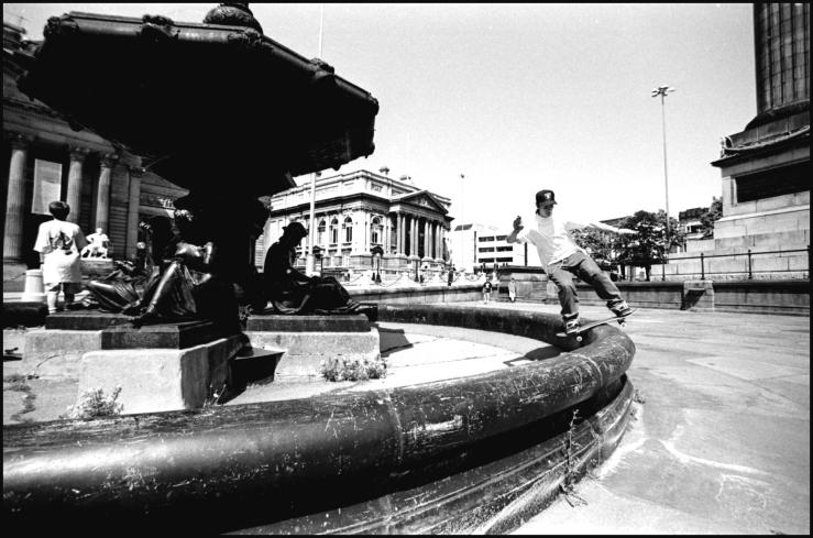 John Dalton lipslide Streble Fountain Liverpool photo Kevin Banks Speedway Skateboarding Magazine (1).jpg