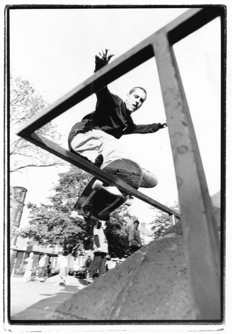 John Montesi Fronside Noseslide New Deal demo Manchester 1991 photo Kevin Banks Speedway Skateboarding Magazine.jpg