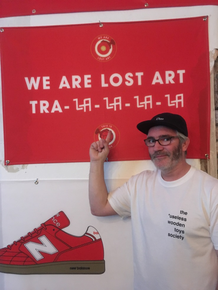 Dave Mackey We Are Lost Art banner The Useless Wooden Toys Society opening day
