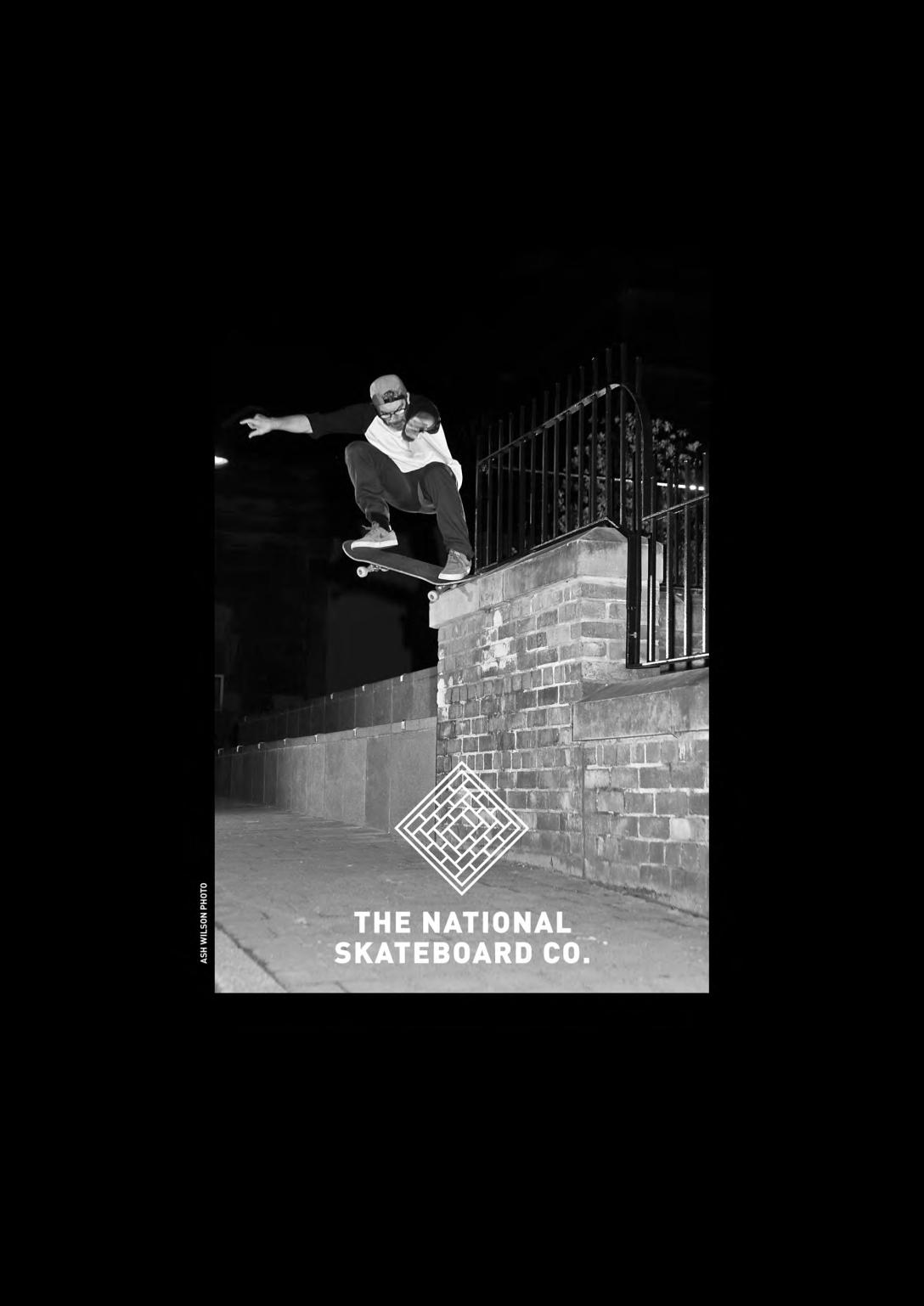 David Mackey crooked grind The National Skateboard Co advert photo Ash Wilson Speedway Skateboarding Magazine