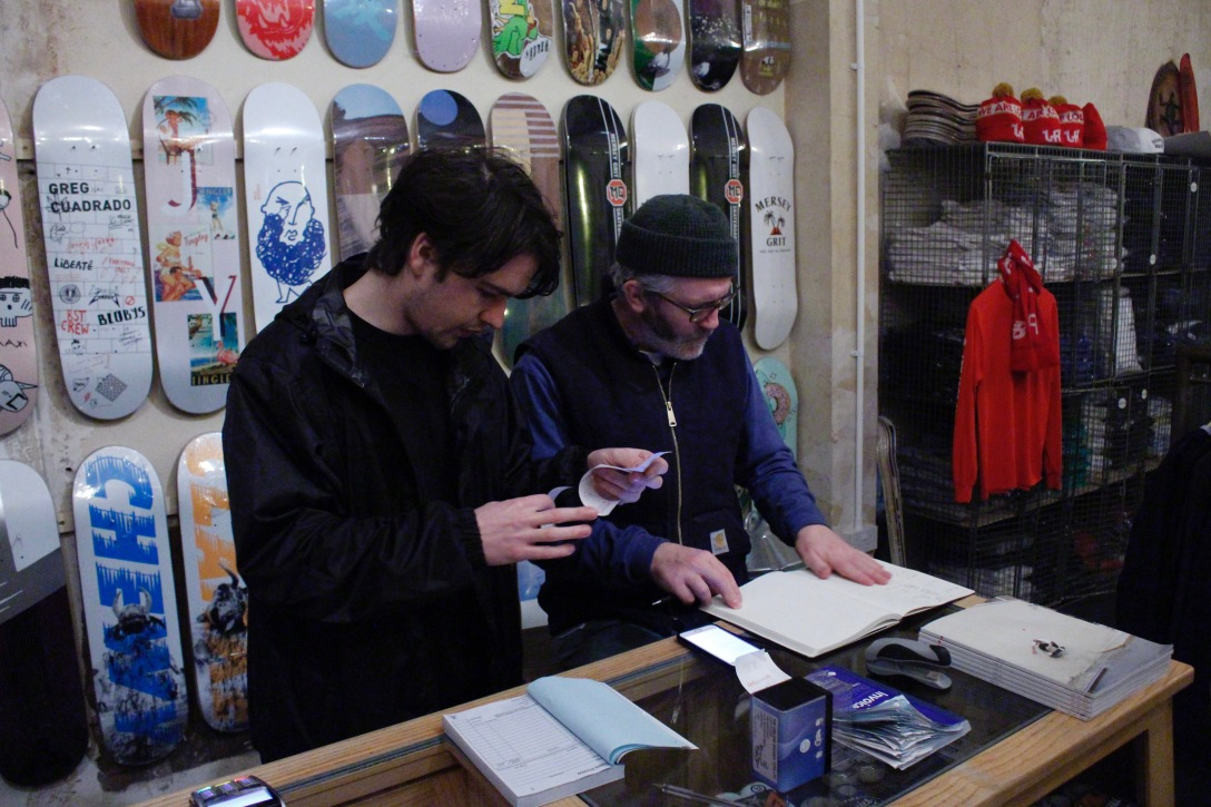 Luke Fletcher David Mackey cashing up The Useless Wooden Toys Society Speedway Skateboarding Magazine Lost Art Interview