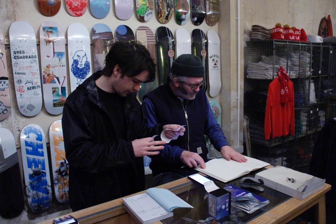 Luke Fletcher David Mackey cashing up The Useless Wooden Toys Society Speedway Skateboarding Magazine Lost Art Interview