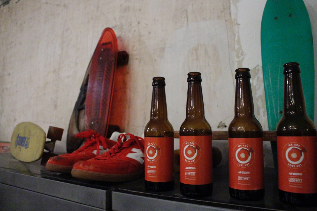 New Balance x Lost Art shoes beer The Useless Wooden Toys Society Speedway Skateboarding Magazine David Mackey Interview