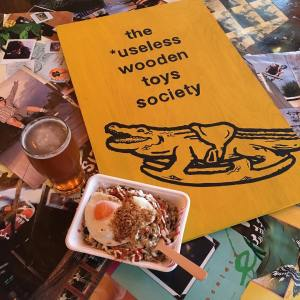 The Useless Wooden Toys Society pint and food 1 Speedway Skateboarding Magazine David Mackey Interview