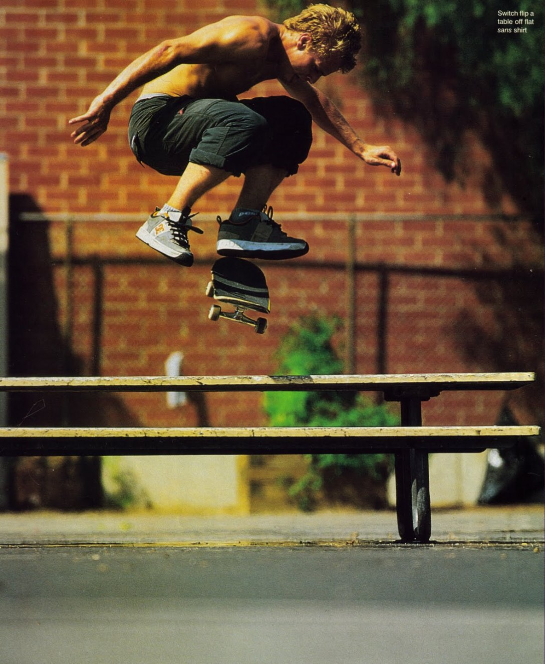 Anthony Van Engelen Switch Kickflip Picnic Table scan courtesy of The Chrome Ball Incident Speedway Mag Greg Hunt Interview